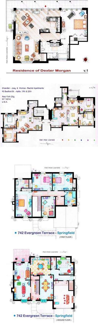 Los planos de casas de las series m s famosas de televisi n for Casas de diseno de famosos