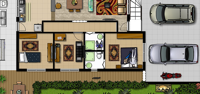 Planos de casas para reorganizar tu vivienda for Muebles para planos de casas